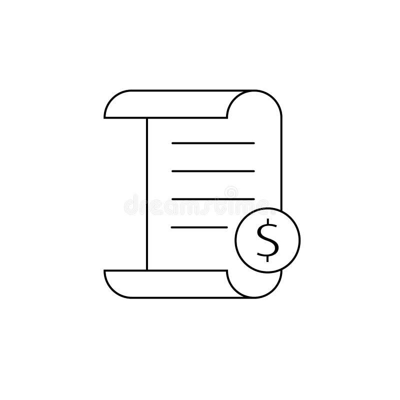 Het pictogram van de rekeningslijn Betaling en rekeningsrekening Het concept van het ordesymbool Het ontwerp van het belastingste vector illustratie