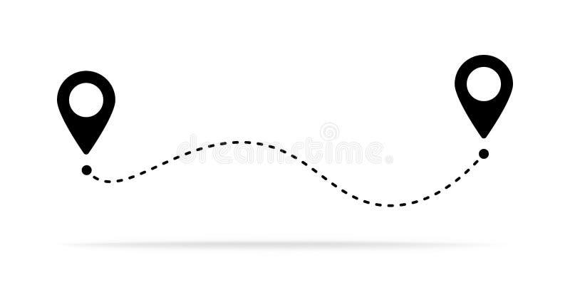 Het pictogram van de routeplaats, twee speldteken en gestippelde lijnweg, begin en het symbool van de eindreis, zwarte kleurenvec vector illustratie