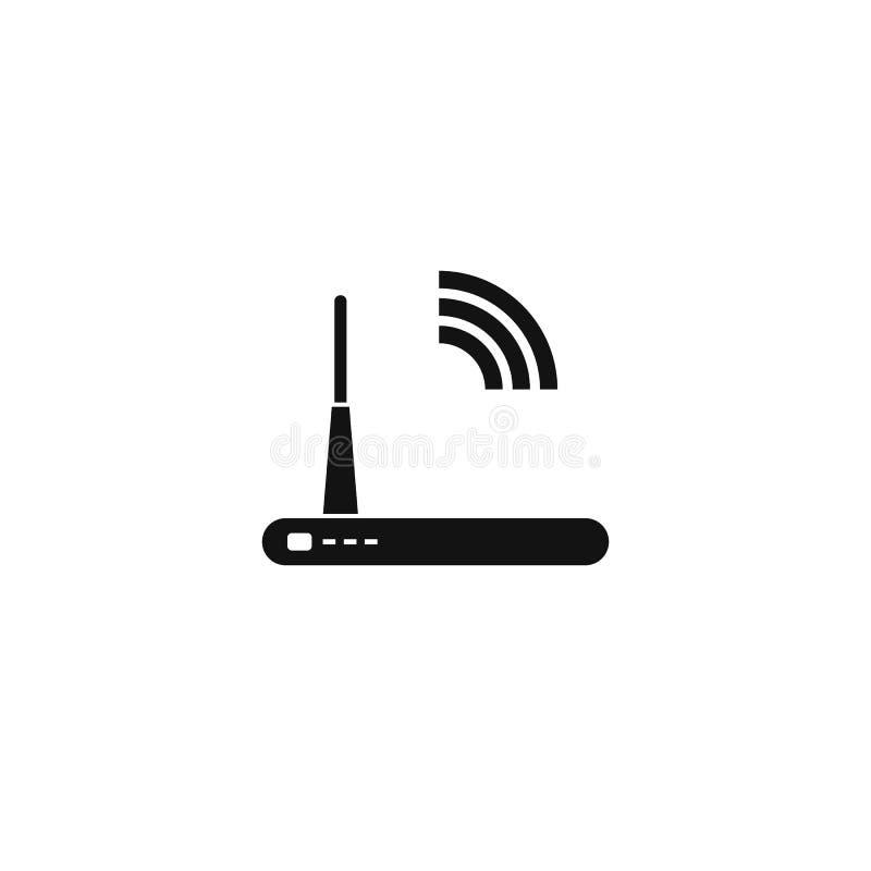 Het pictogram van de routerlijn, overzicht en stevig vectorembleem, lineair die pictogram op wit, pixel perfecte illustratie word vector illustratie