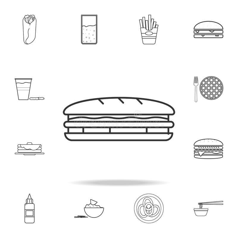 Het pictogram van de sandwichlijn Gedetailleerde reeks snel voedselpictogrammen Het grafische ontwerp van de premiekwaliteit Één  royalty-vrije illustratie