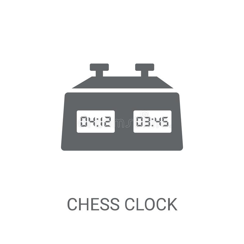 Het pictogram van de schaakklok In het embleemconcept van de Schaakklok op witte backg vector illustratie