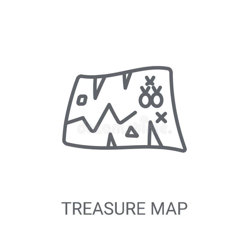 Het pictogram van de schatkaart In het embleemconcept van de Schatkaart op witte bac stock illustratie