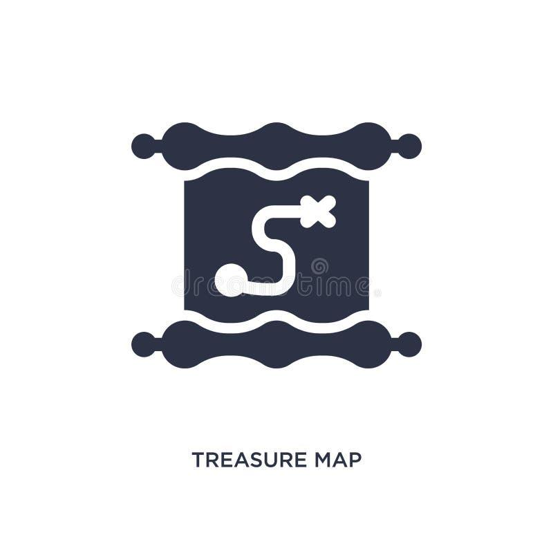het pictogram van de schatkaart op witte achtergrond Eenvoudige elementenillustratie van literatuurconcept royalty-vrije illustratie