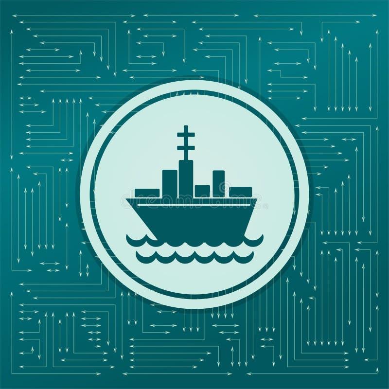 Het pictogram van de schipboot op een groene achtergrond, met pijlen in verschillende richtingen Het lijkt de elektronische raad royalty-vrije illustratie
