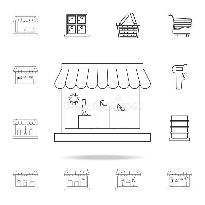 het pictogram van de schoenopslag Gedetailleerde reeks winkels en hypermarket pictogrammen Het grafische ontwerp van de premiekwa stock illustratie