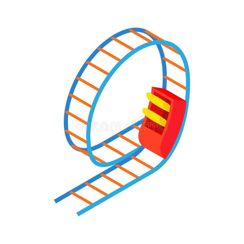 Het pictogram van de schommelingsachtbaan, beeldverhaalstijl stock illustratie
