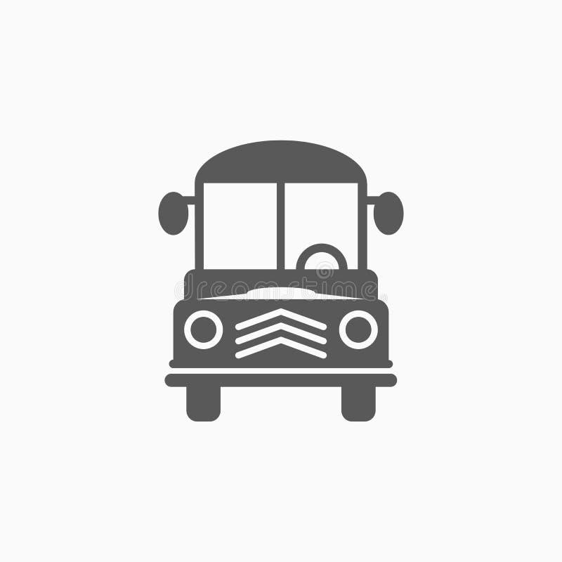 Het pictogram van de schoolbus, bus, school, vervoer, voertuig vector illustratie