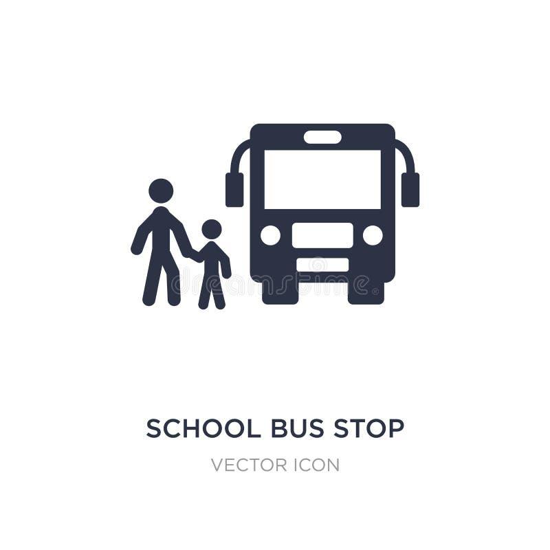 het pictogram van de schoolbushalte op witte achtergrond Eenvoudige elementenillustratie van Vervoerconcept royalty-vrije illustratie