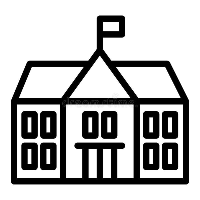 Het pictogram van de schoollijn Bouwend vector geïsoleerde illustratie op wit De stijlontwerp van het universiteitsoverzicht, voo royalty-vrije illustratie