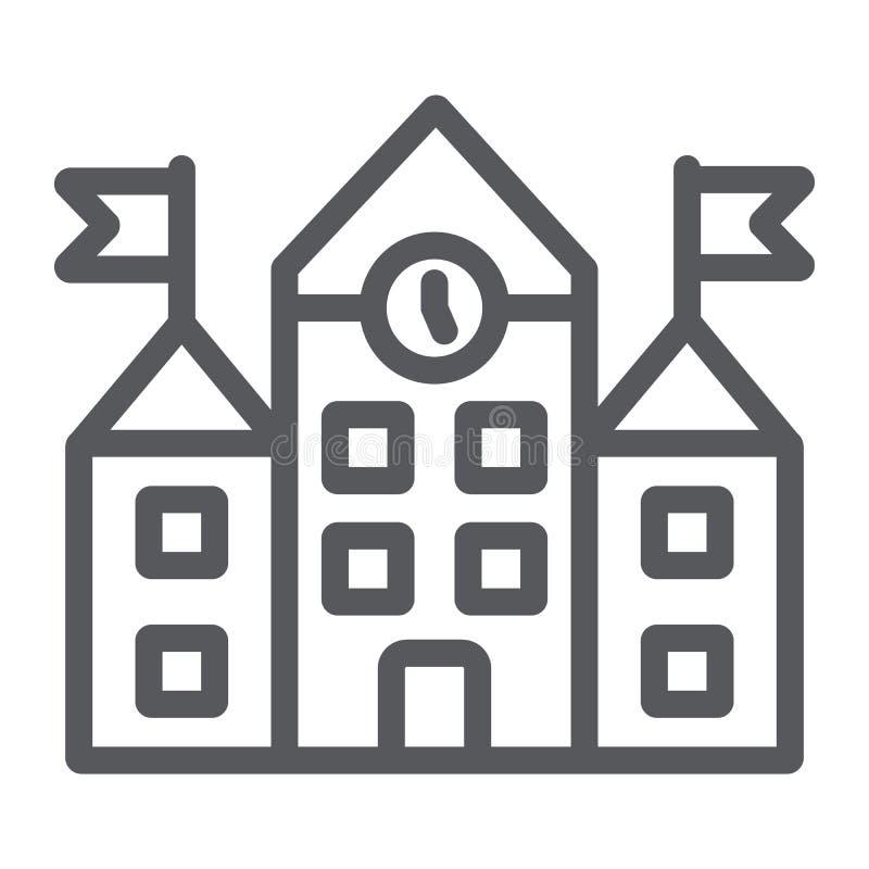 Het pictogram van de schoolrooilijn, onderwijs en architectuur, universitair teken, vectorafbeeldingen, een lineair patroon op ee stock illustratie
