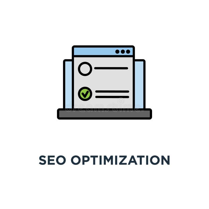 het pictogram van de seooptimalisering, symbool van eerste plaats in serp, zoekmachineoptimalisering in ontwerp, conceptenbrowser vector illustratie