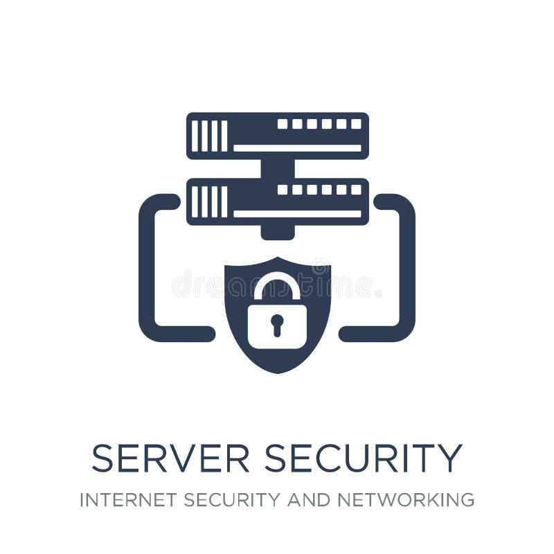 Het pictogram van de serverveiligheid Het in vlakke vectorpictogram van de Serverveiligheid  vector illustratie