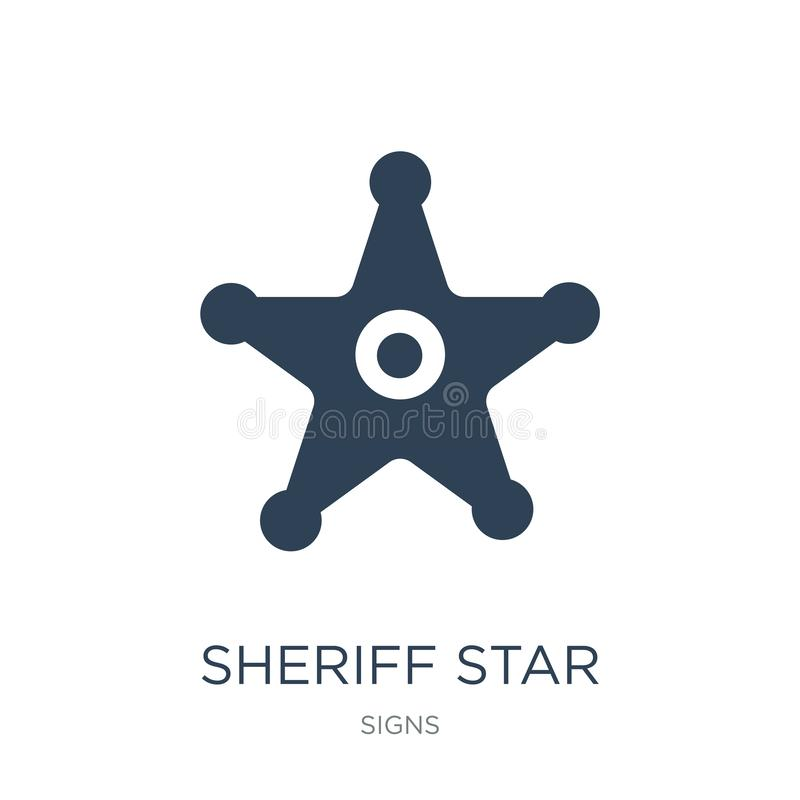 het pictogram van de sheriffster in in ontwerpstijl Het pictogram van de sheriffster op witte achtergrond wordt geïsoleerd die he royalty-vrije illustratie