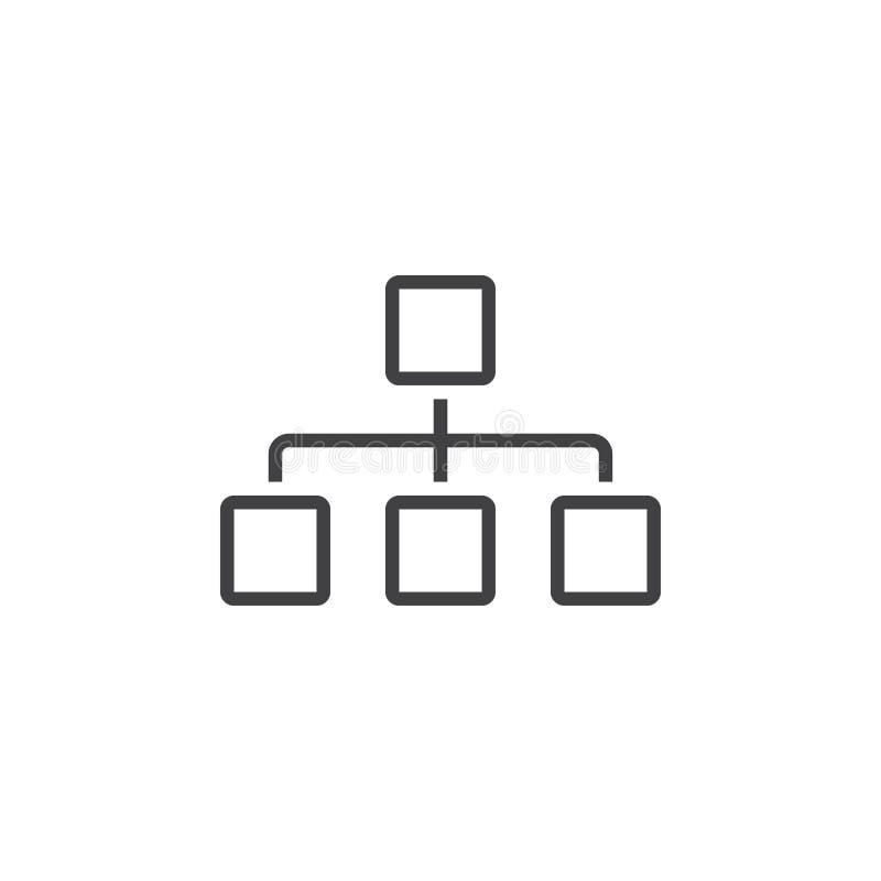 Het pictogram van de Sitemaplijn, het embleem van het grafiekoverzicht, lineair pictogram i vector illustratie