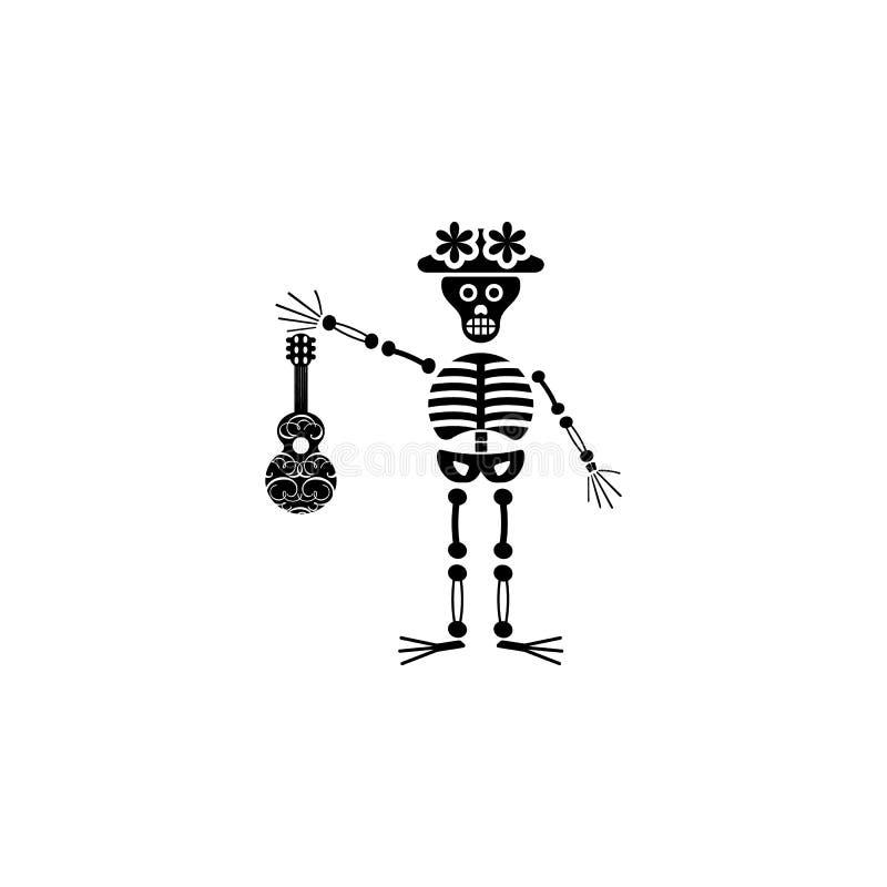 Het pictogram van de skeletgitaar Element van dag dood pictogram voor mobiele concept en webtoepassingen Het gedetailleerde picto stock illustratie