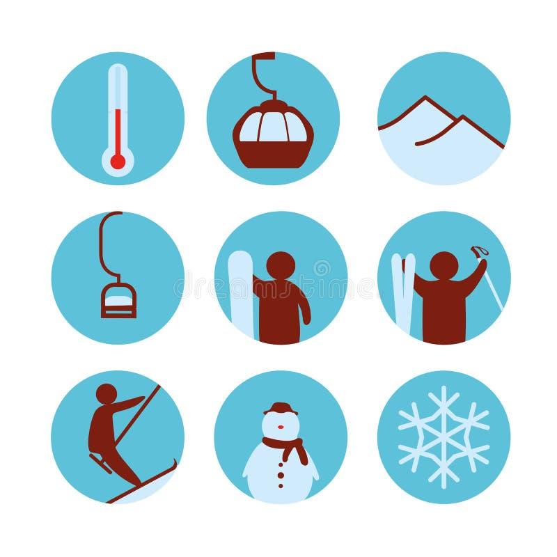 Het pictogram van de skitoevlucht royalty-vrije illustratie