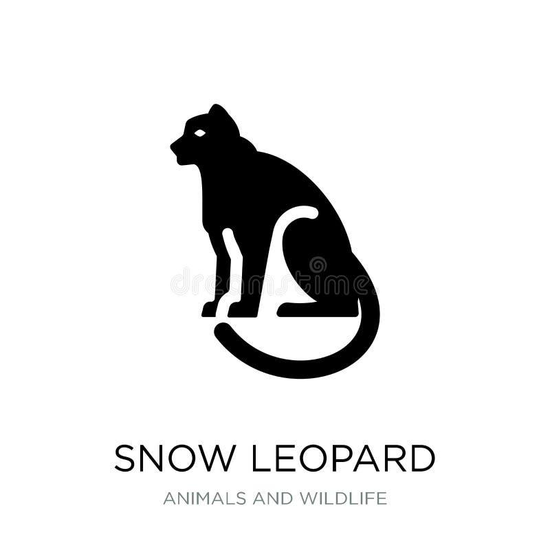 het pictogram van de sneeuwluipaard in in ontwerpstijl het pictogram van de sneeuwluipaard op witte achtergrond wordt geïsoleerd  royalty-vrije illustratie