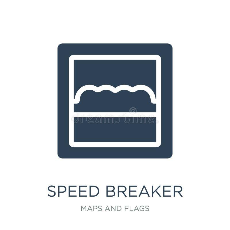 het pictogram van de snelheidsbreker in in ontwerpstijl het pictogram van de snelheidsbreker op witte achtergrond wordt geïsoleer royalty-vrije illustratie