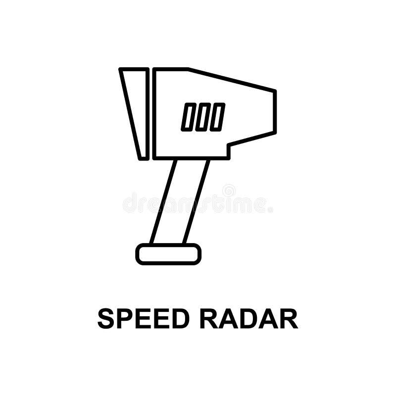 het pictogram van de snelheidsradar Element van meetinstrumentenpictogram met naam voor mobiel concept en Web apps Het dunne de r vector illustratie