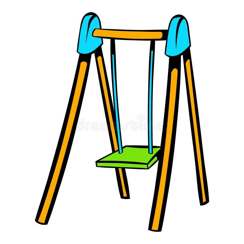 Het pictogram van de speelplaatsschommeling, pictogrambeeldverhaal vector illustratie