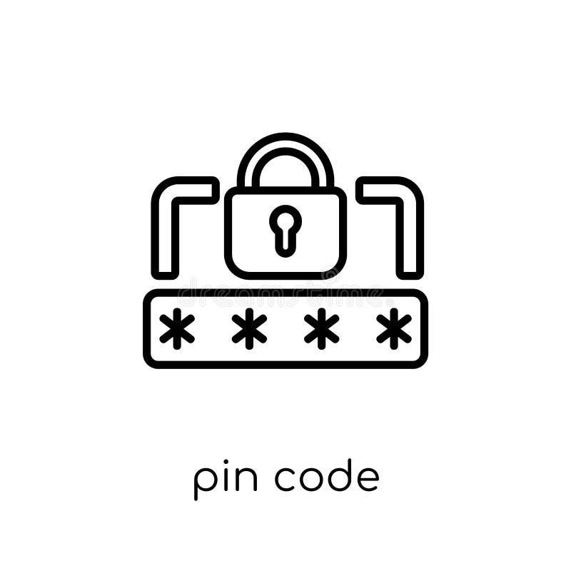 Het pictogram van de speldcode Het in moderne vlakke lineaire vectorpictogram van de Speldcode  vector illustratie