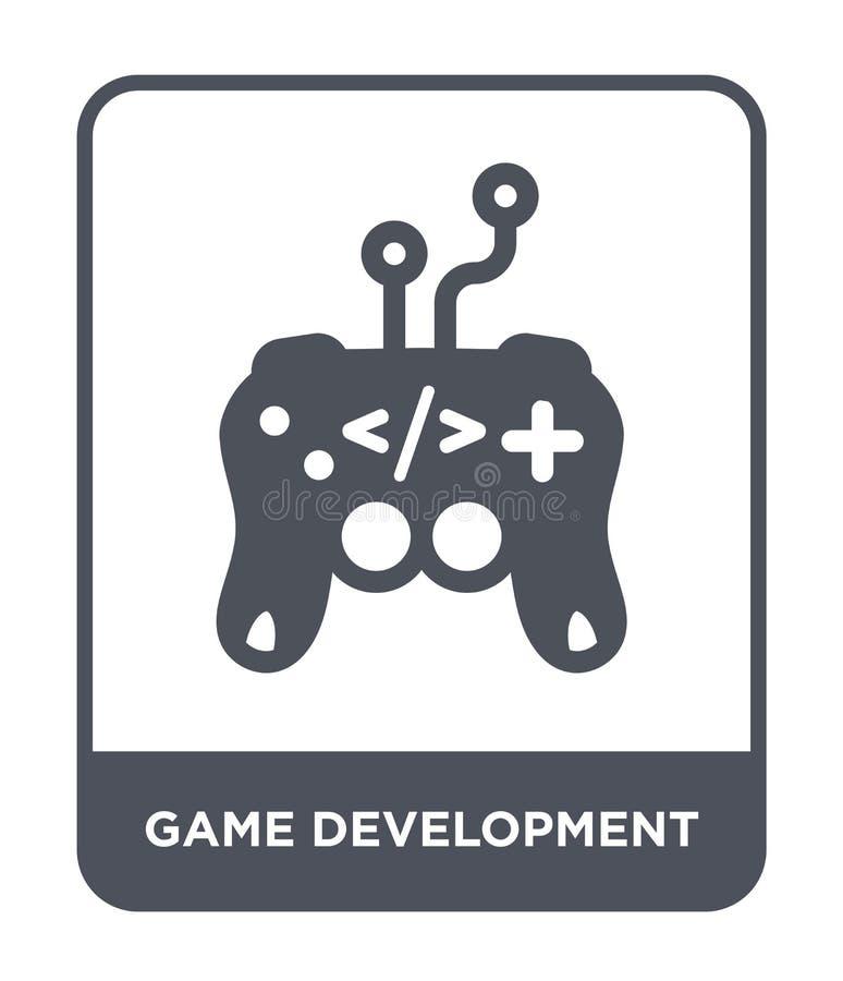 het pictogram van de spelontwikkeling in in ontwerpstijl het pictogram van de spelontwikkeling op witte achtergrond wordt geïsole vector illustratie