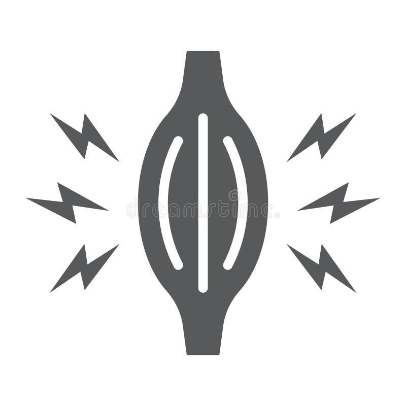 Het pictogram van de spierpijn glyph, lichaam en zieken, het teken van de spierpijn, vectorafbeeldingen, een stevig patroon op ee stock illustratie