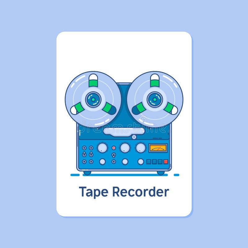 Het pictogram van de spoelbandrecorder op blauwe achtergrond Moderne dunne lineaire slag vectorpictogrammen royalty-vrije illustratie