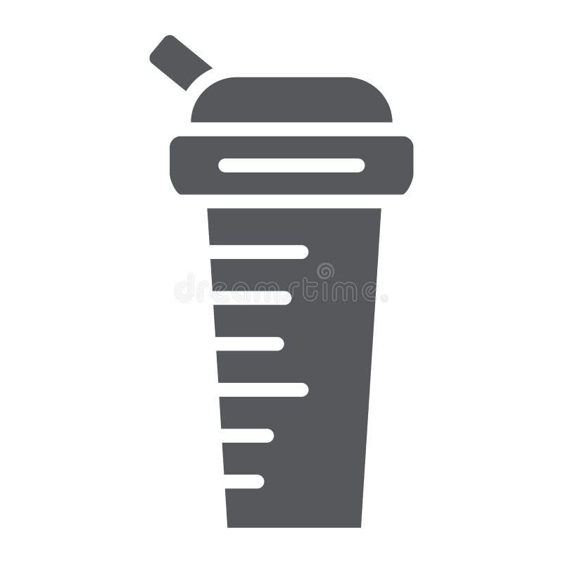 Het pictogram van de sportenschudbeker glyph, dieet en drank, containerteken, vectorafbeeldingen, een stevig patroon op een witte stock illustratie