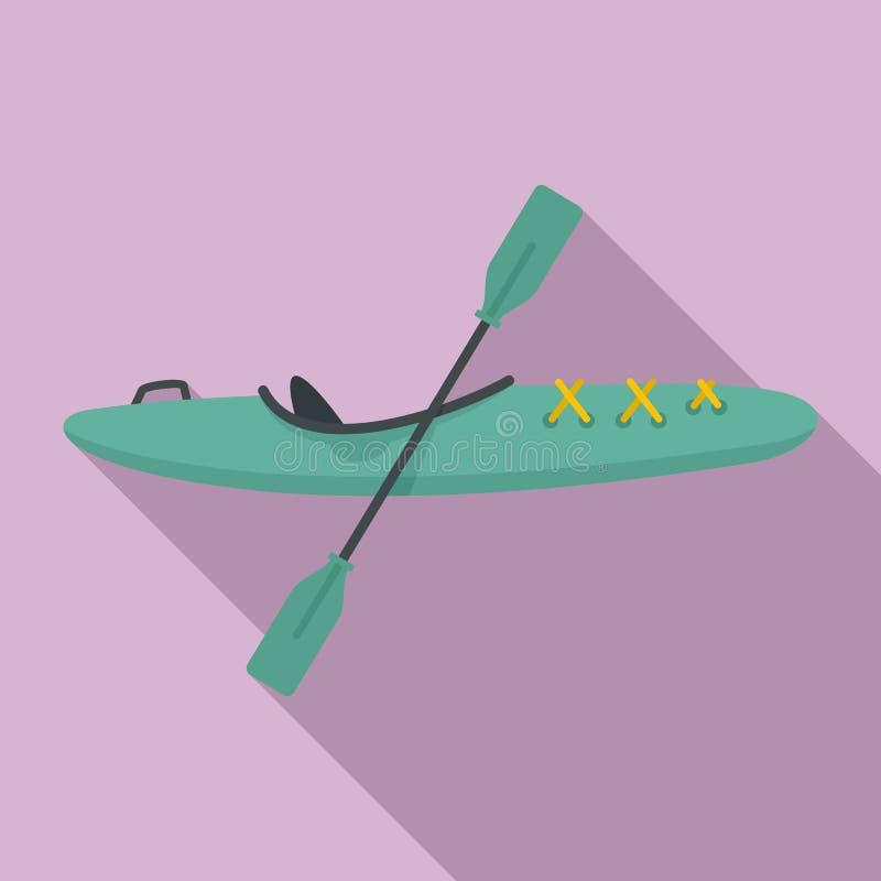Het pictogram van de sportkajak, vlakke stijl royalty-vrije illustratie