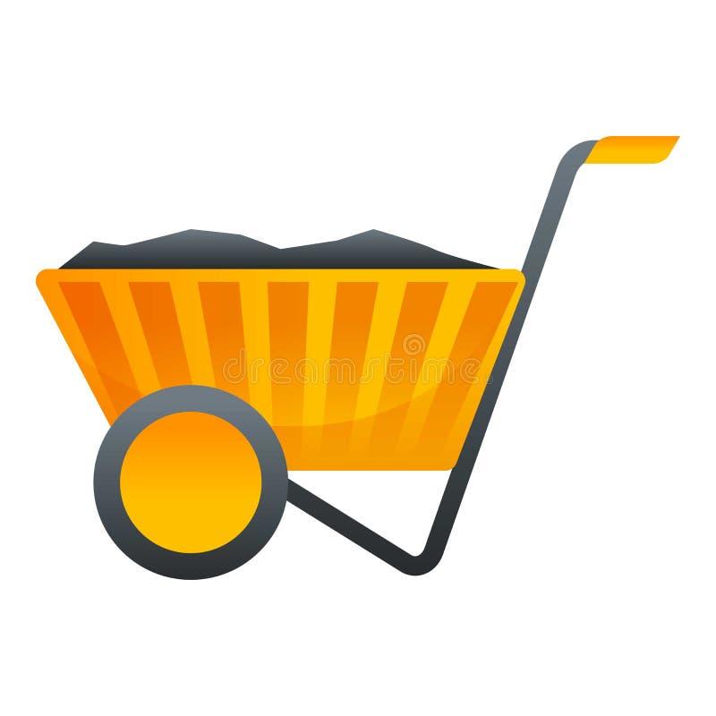 Het pictogram van de steenkoolkruiwagen, beeldverhaalstijl stock illustratie