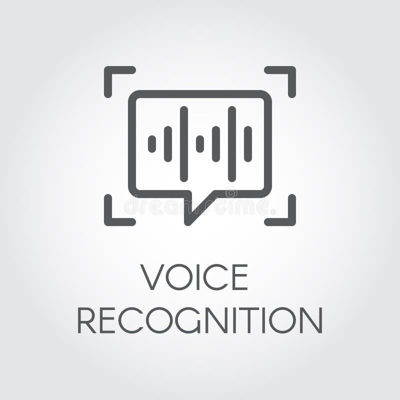 Het pictogram van de stemerkenning Intelligente audioidentificatietechnologie, correcte controle Praatjepaneel en soundwave teken vector illustratie