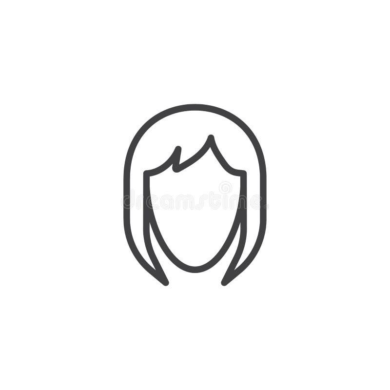 Het pictogram van de de stijlenlijn van het vrouwenhaar royalty-vrije illustratie