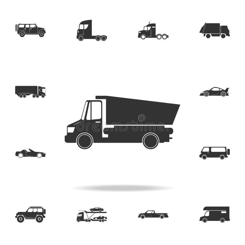 Het pictogram van de stortplaatsvrachtwagen Gedetailleerde reeks vervoerpictogrammen Het grafische ontwerp van de premiekwaliteit vector illustratie