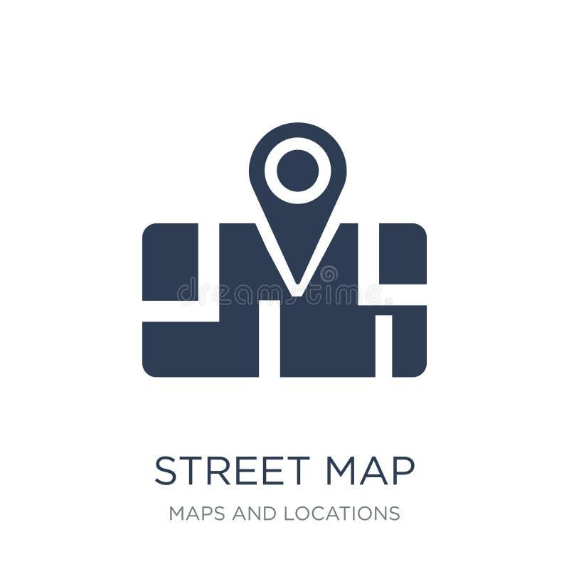 Het pictogram van de straatkaart Het in vlakke vectorpictogram van de Straatkaart op witte bac royalty-vrije illustratie
