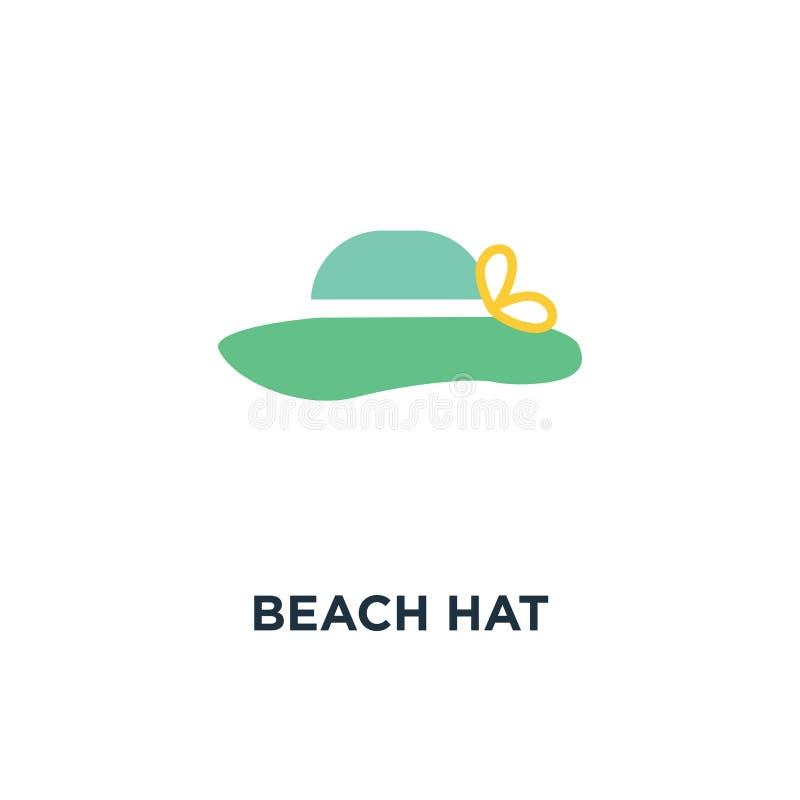 Het pictogram van de strandhoed de zonhoed op wit isoleert achtergrondconcept symb royalty-vrije illustratie