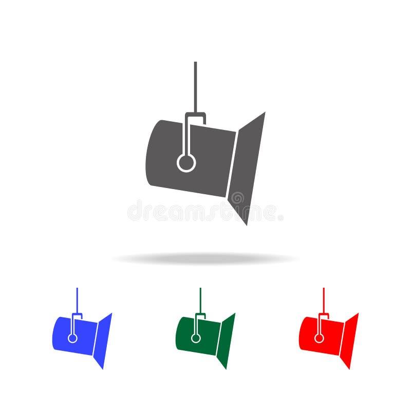 Het pictogram van de studioschijnwerper Elementen van bioskoop en filmography multi gekleurde pictogrammen Grafisch het ontwerppi stock illustratie