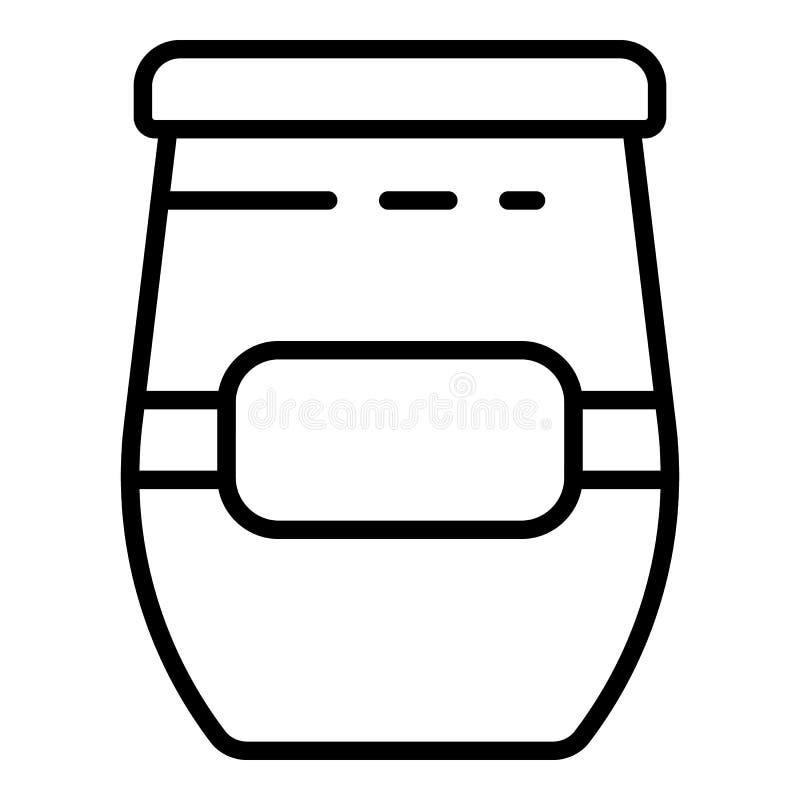 Het pictogram van de suikerjampot, overzichtsstijl stock illustratie