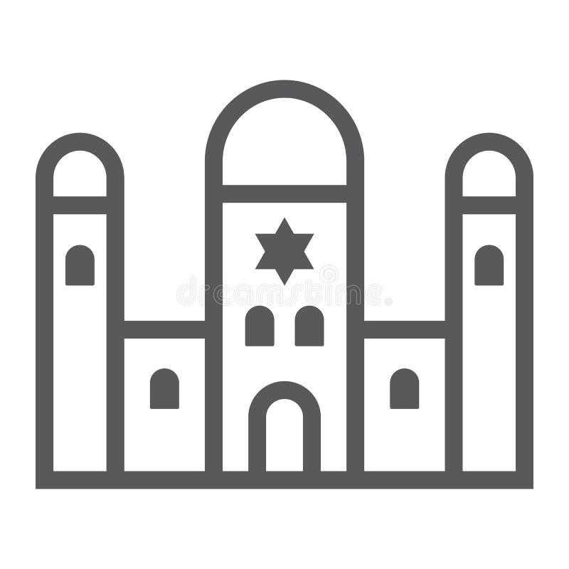 Het pictogram van de synagogelijn, godsdienst en architectuur, Joods kerkteken, vectorafbeeldingen, een lineair patroon op een wi stock illustratie