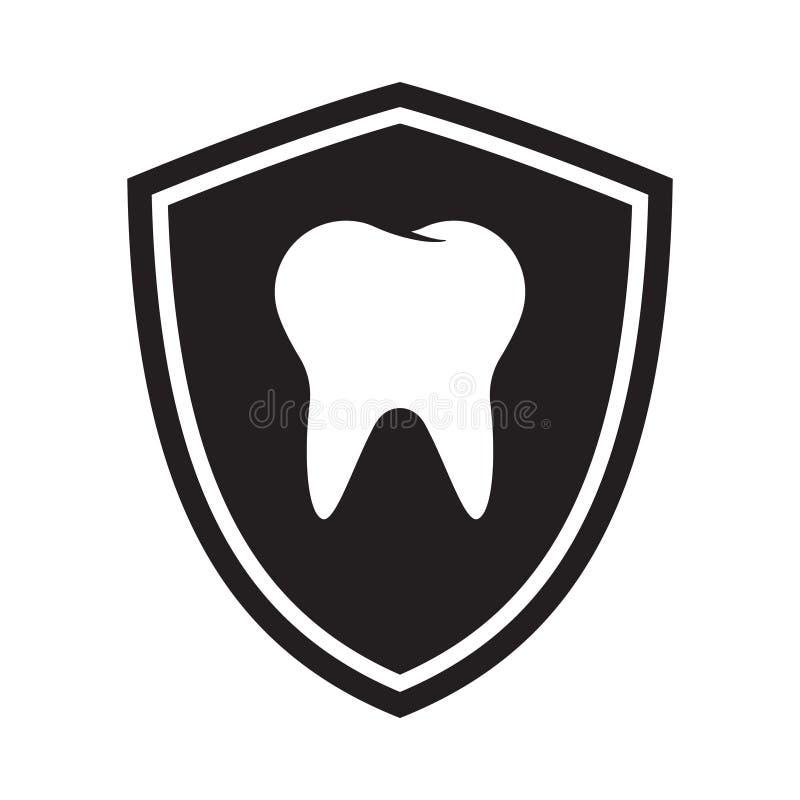 Het pictogram van de tandbescherming, embleem dat op witte achtergrond wordt geïsoleerd stock illustratie