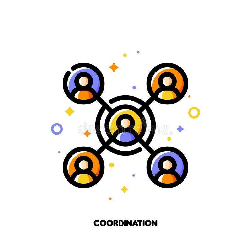 Het pictogram van de teamcoördinatie voor concept participatie in een groep Vlak gevulde overzichtsstijl Pixel perfecte 64x64 stock illustratie