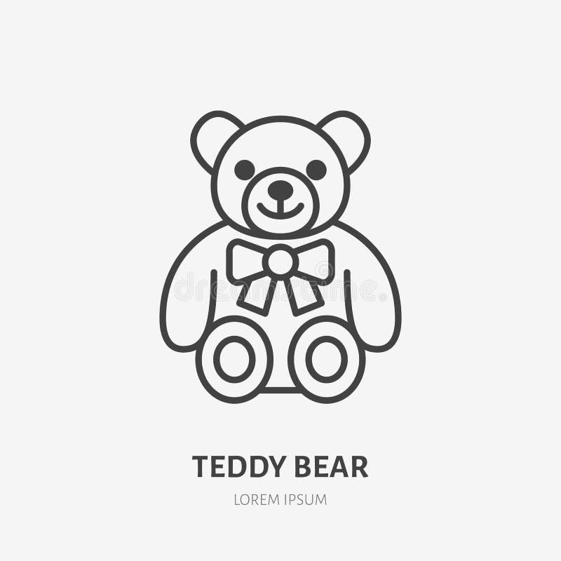 Het pictogram van de teddybeerlijn, baby zacht stuk speelgoed vlak embleem Leuke pluche dierlijke vectorillustratie Teken voor jo vector illustratie