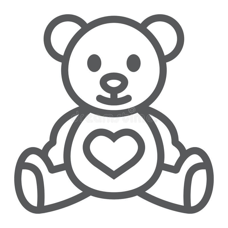 Het pictogram van de teddybeerlijn, kind en stuk speelgoed, dierlijk teken, vectorgrafiek, een lineair patroon op een witte achte stock illustratie