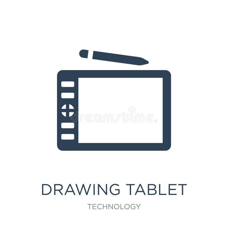 het pictogram van de tekeningstablet in in ontwerpstijl het pictogram van de tekeningstablet op witte achtergrond wordt geïsoleer stock illustratie