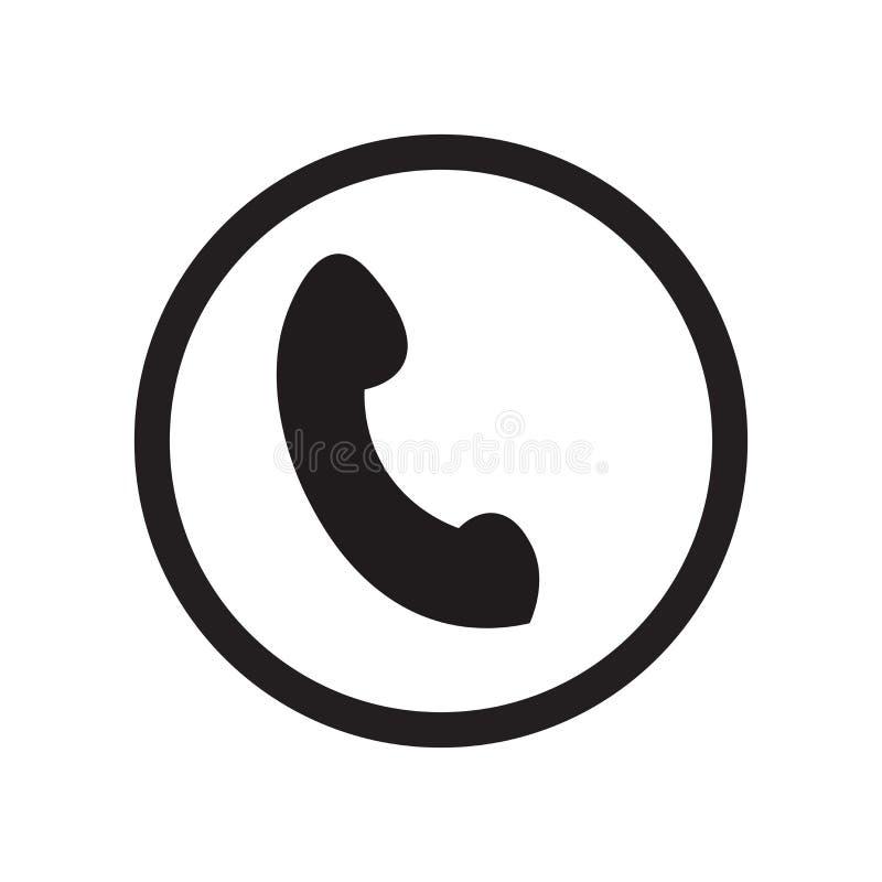 Het pictogram van de telefoondienst vectordieteken en symbool op witte achtergrond, het embleemconcept wordt geïsoleerd van de Te royalty-vrije stock fotografie