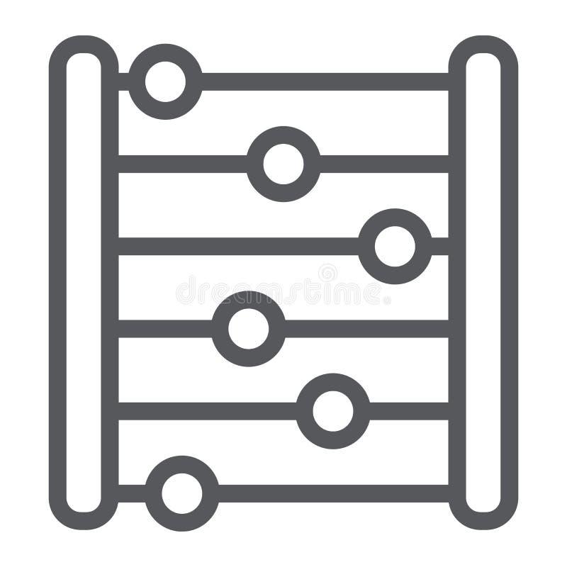 Het pictogram van de telraamlijn, boekhouding en wiskunde, tellend teken, vectorafbeeldingen, een lineair patroon op een witte ac royalty-vrije illustratie