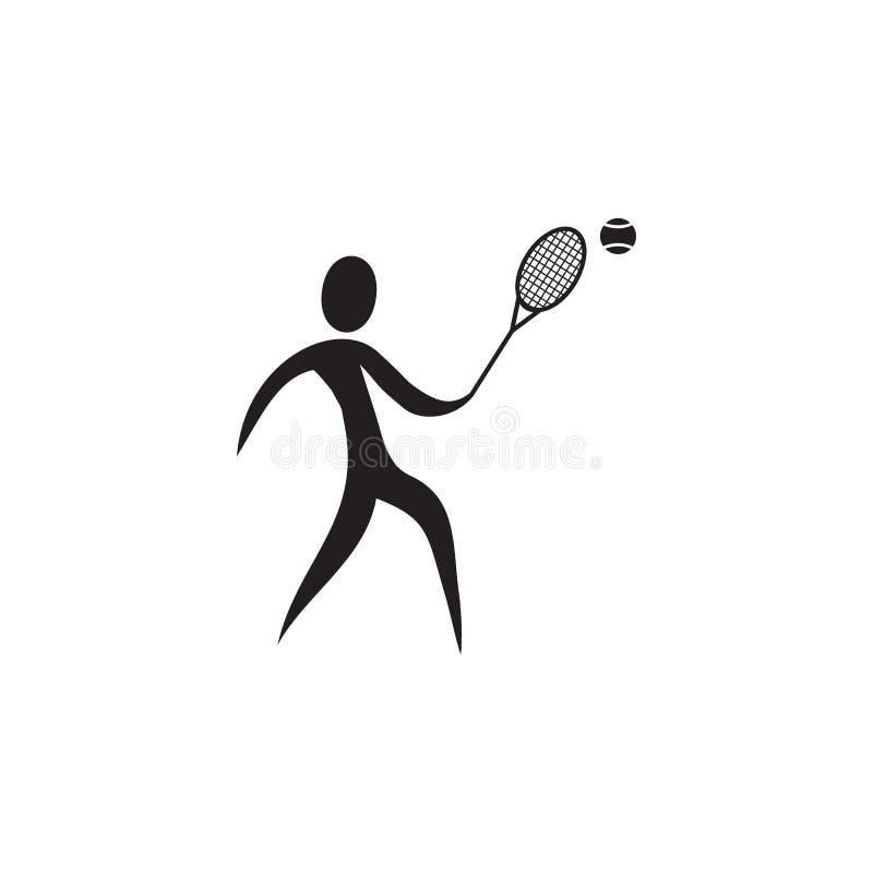 Het pictogram van de tennisspeler Elementen van sportmanpictogram Grafisch het ontwerppictogram van de premiekwaliteit Tekens en  vector illustratie