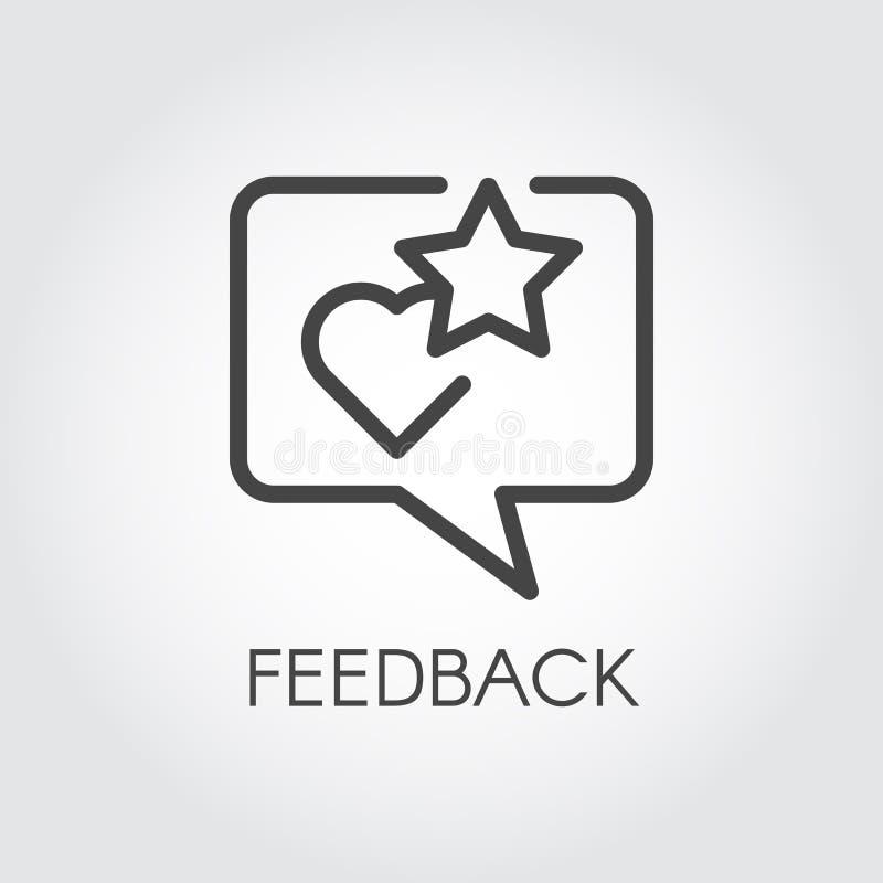 Het pictogram van de terugkoppelingscontour De bel van de citaattekst met ster en hartclassificatiesymbolen Overzicht en beoordel stock illustratie