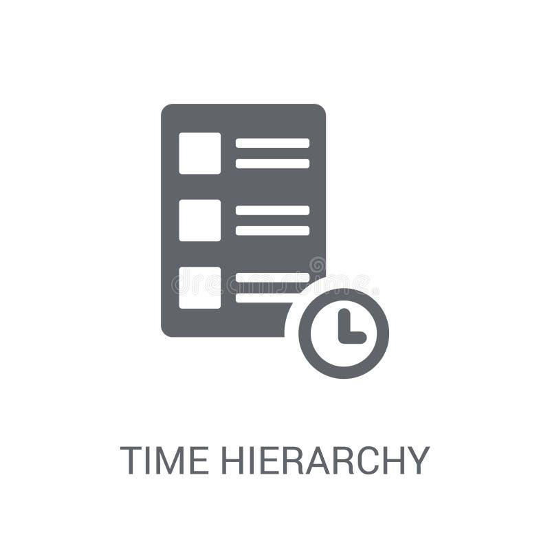 Het pictogram van de tijdhiërarchie In het embleemconcept van de Tijdhiërarchie op wit vector illustratie