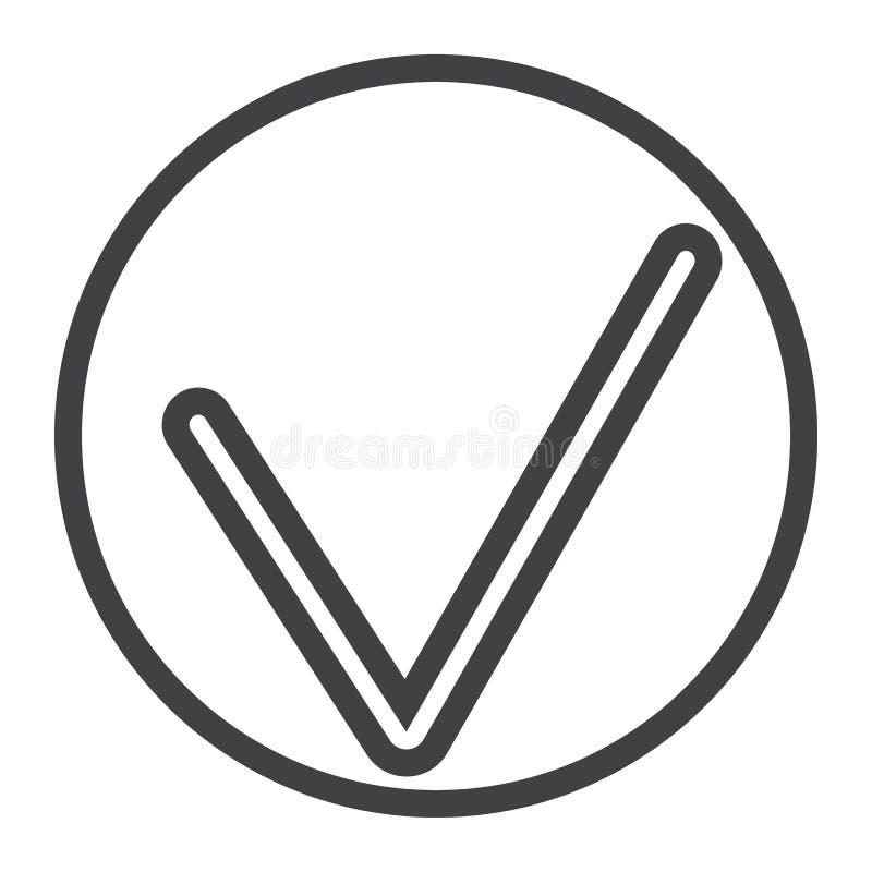 Het pictogram van de tiklijn, Web en mobiel, controleert teken stock illustratie